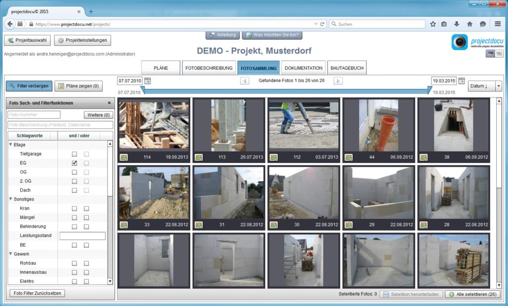 Baudokumentation Detailansicht Fotosammlung und Filter